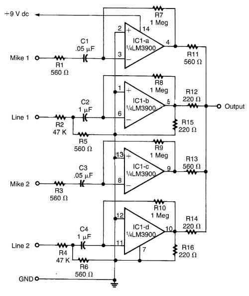 electronic parts and schematic diagram
