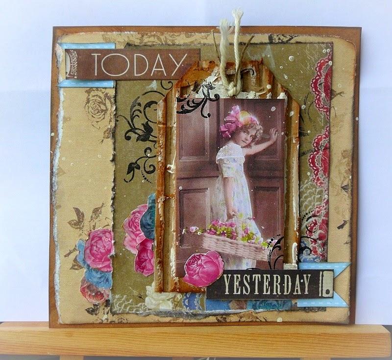 kartka vintage z różami
