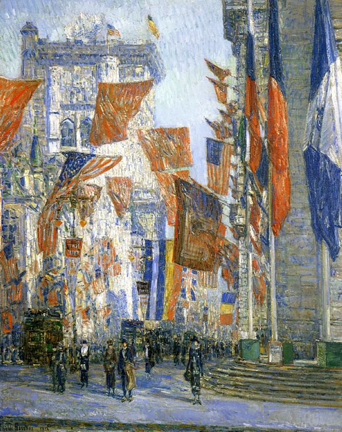 Childe+Hassam+1859-1935+-+American+painter+-+Avenue+of+the+Allies+1918+-+The+Impressionist+Flags++%284%29