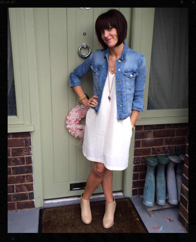 My Midlife Fashion, Hush, Triangle Dress, Denim Jacket, Zara, Wallis, Nude Ankle Boots