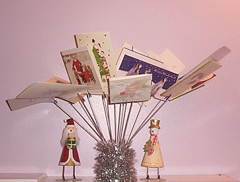 Homemade christmas card tree holder
