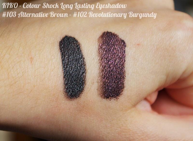 KIKO - Colour Shock Long Lasting Eyeshadow : swatches 103 Alternative Brown et 102 Revolutionary Burgundy