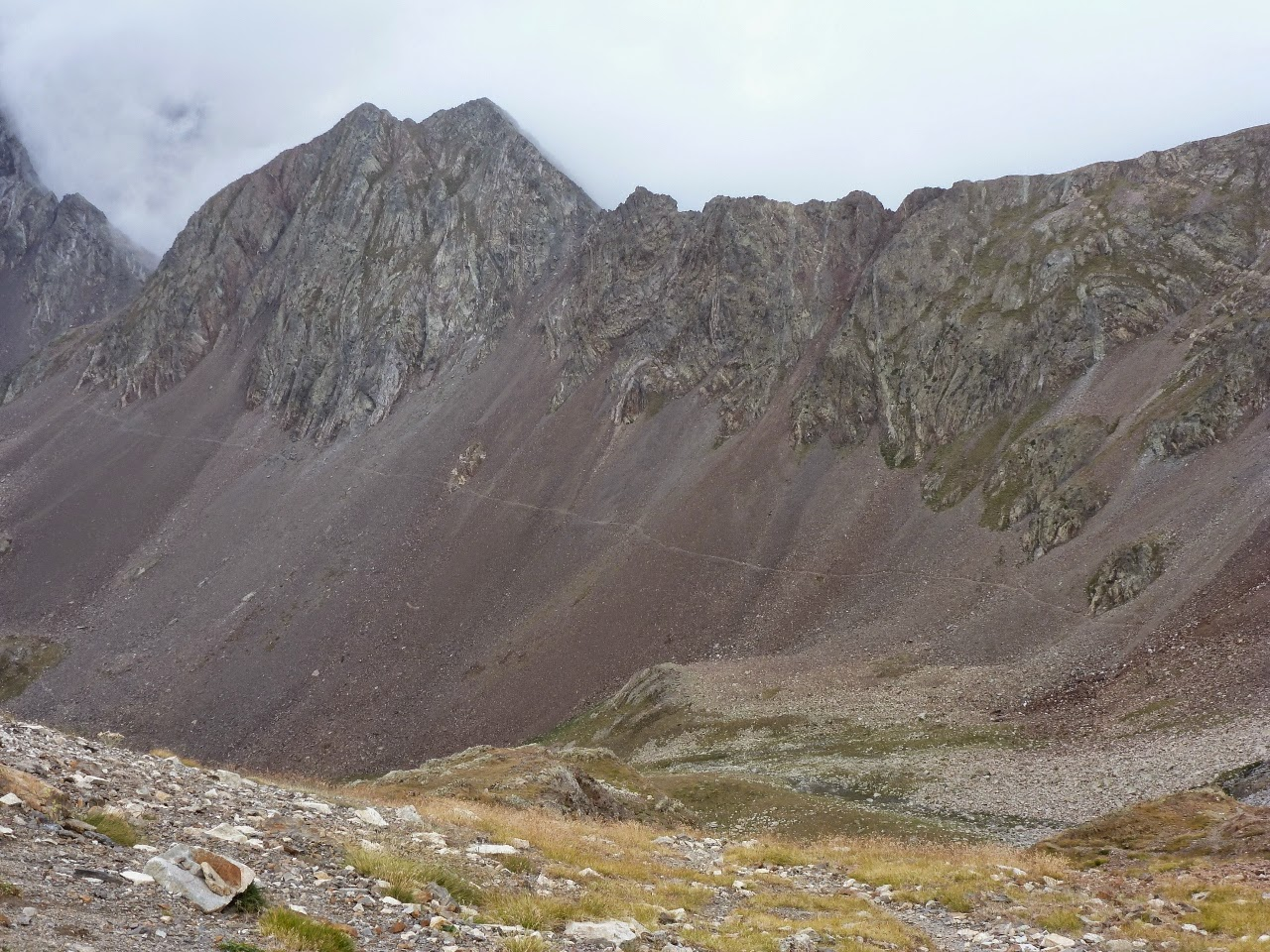 The scree path viewed from the Col des Mulets