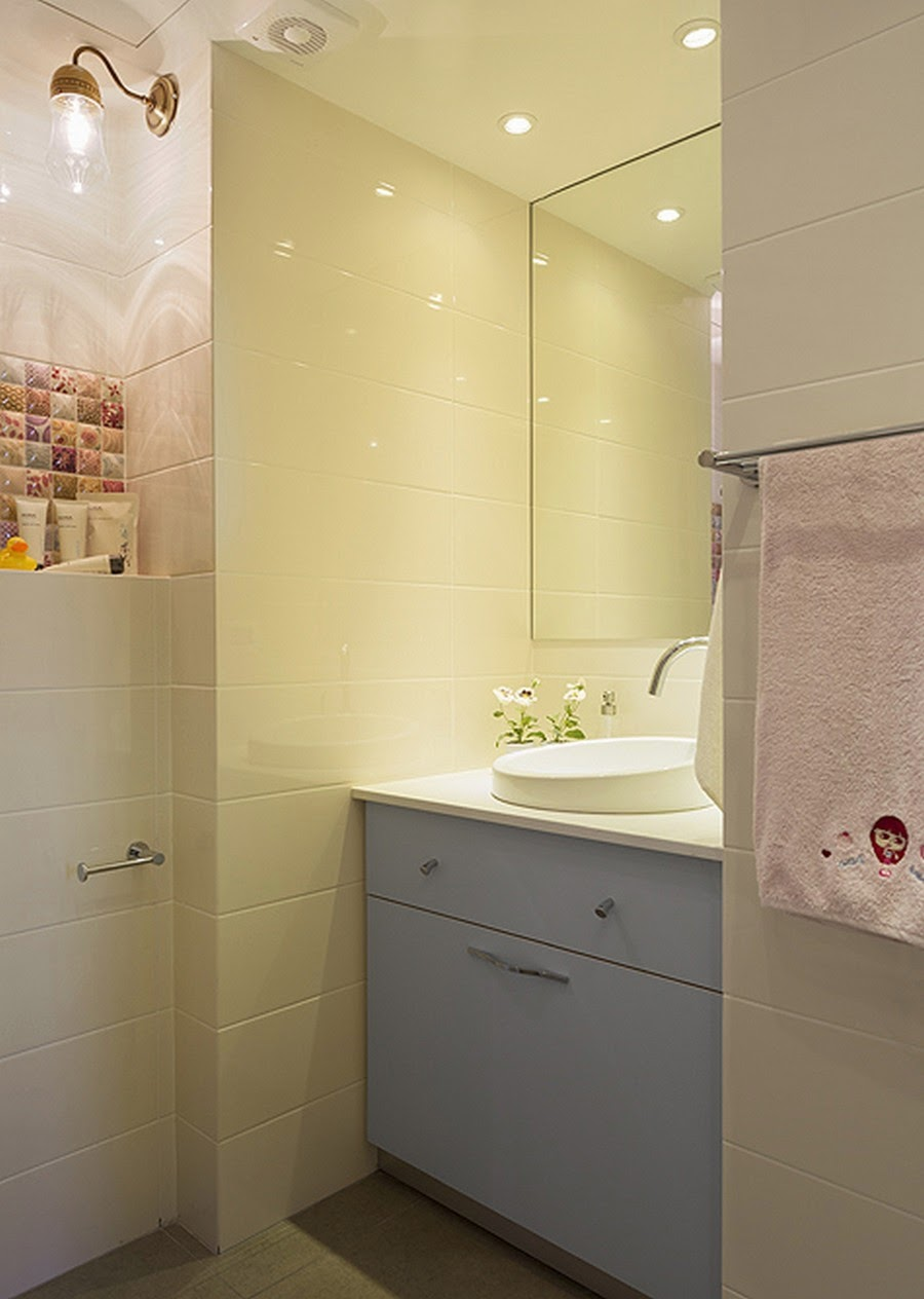amenajari, interioare, decoratiuni, decor, design interior , apartament, gri, albastru , galben, baie