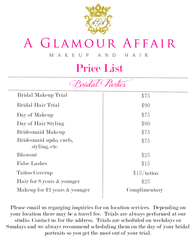 Hair And Makeup Pricing For Wedding : A Glamour Affair: Atlanta on location hair and makeup: Pricing