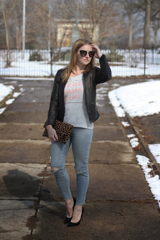 halogen leather jacket, ily tee, j brand jeans, christian louboutin heels, clare v clutch, prada sunnies