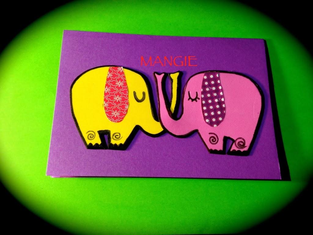 Tarjeta elefantes enamorados