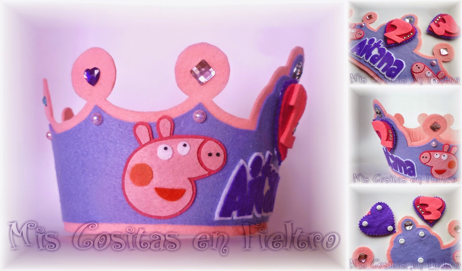 corona de cumpleaños, corona de fieltro, Peppa Pig, fiesta, Aitana