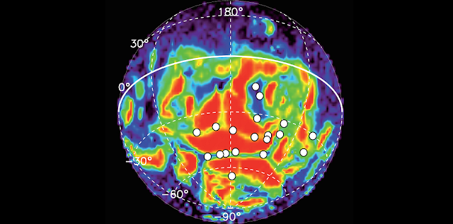 Locations of 19 auroral detections (white circles) made by the SPICAM instrument on Mars Express during 113 nightside orbits between 2004 and 2014, over locations already known to be associated with residual crustal magnetism. The data is superimposed on the magnetic field line structure (from NASA's Mars Global Surveyor) where red indicates closed magnetic field lines, grading through yellow, green and blue to open field lines in purple. Based on data from J-C. Gérard et al (2015)