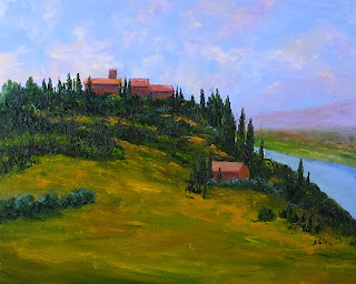 Oil painting of a typical Italian country home