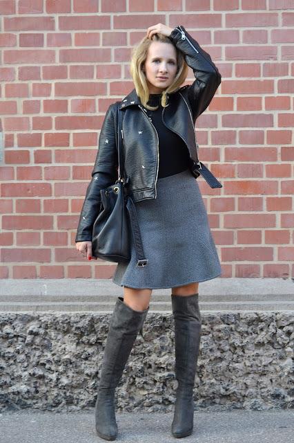 outfit stuart weitzman overknees sandro paris skirt. Black Bedroom Furniture Sets. Home Design Ideas