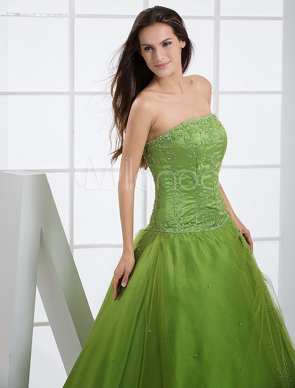 China Wholesale Dresses - Green Ball Gown Strapless Quinceanera Dress