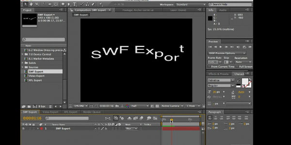 Export from After Effects to Flash