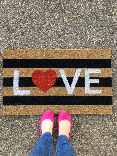 Love Welcome Mat and Fuchsia Pink Tieks