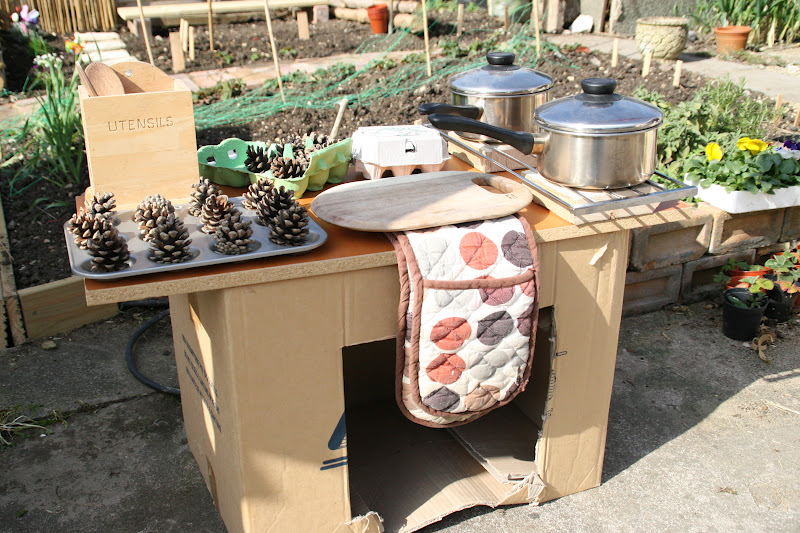 Create With Your Hands Outdoor Play Cardboard Box Play Kitchen