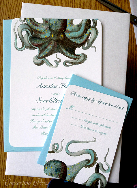 Octopus Wedding Invitation by Concertina Press