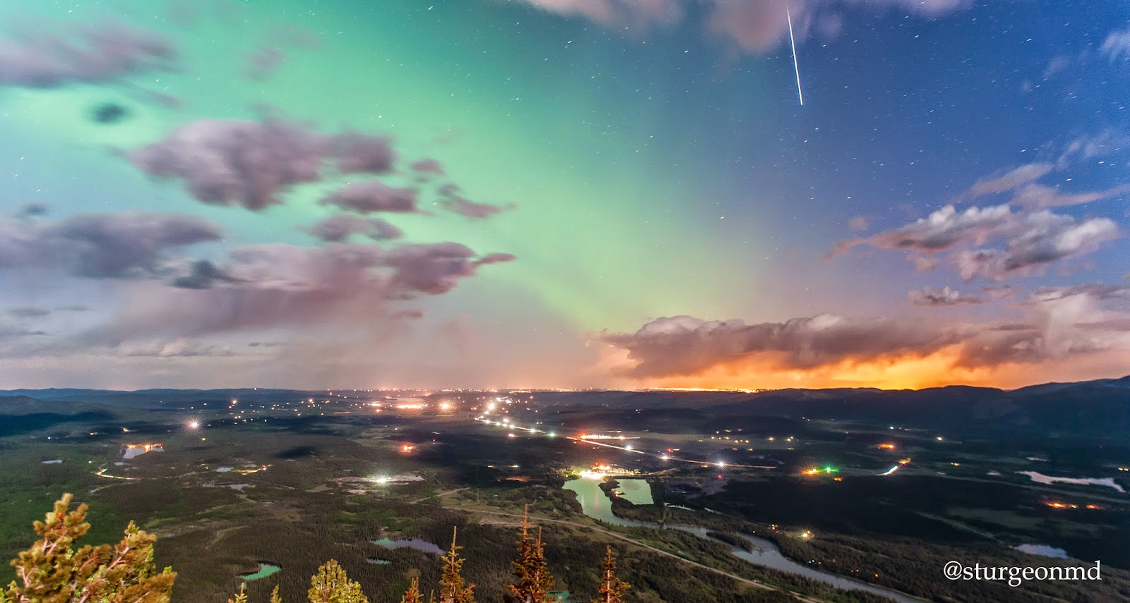 aurora borealis, northern lights, shooting star, rocky mountains, calgary