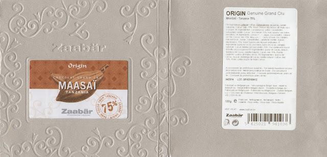 tablette de chocolat noir dégustation zaabär noir maasaï tanzanie 75