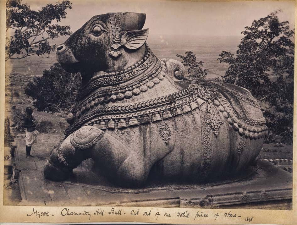 Chamundi Hill Bull (Nandi). Cut out of one solid piece of stone - Mysore, Karnataka, 1895