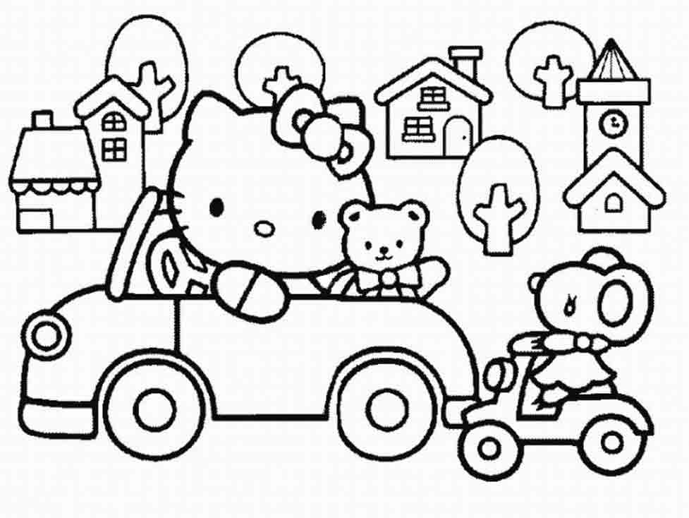 Hello Kitty Coloring Pages Car high quality
