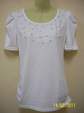 White T- Shirt  With Pearl- FR 45