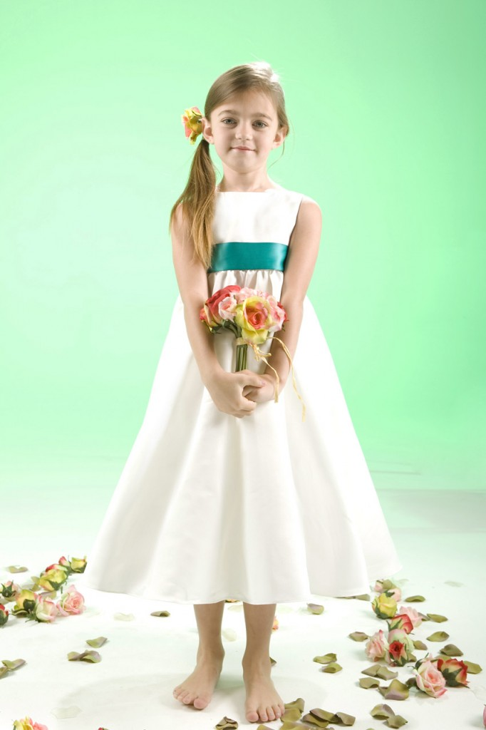 white junior bridesmaid dress for autumn wedding