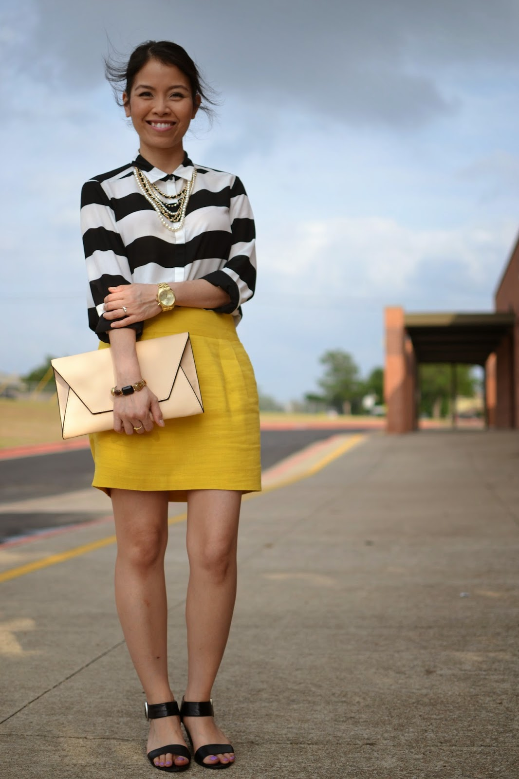 Black And Yellow Striped Skirt | Jill Dress