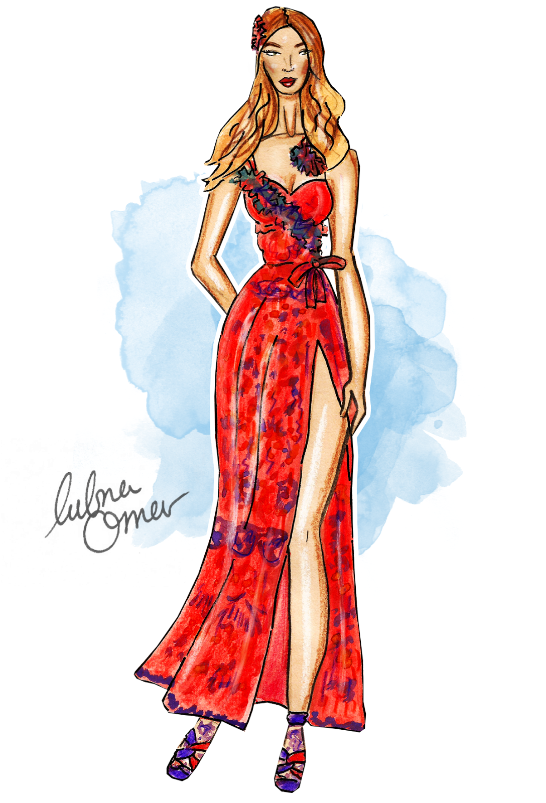 Gigi Hadid in Anna Sui SS16 illustration by Lubna Omar