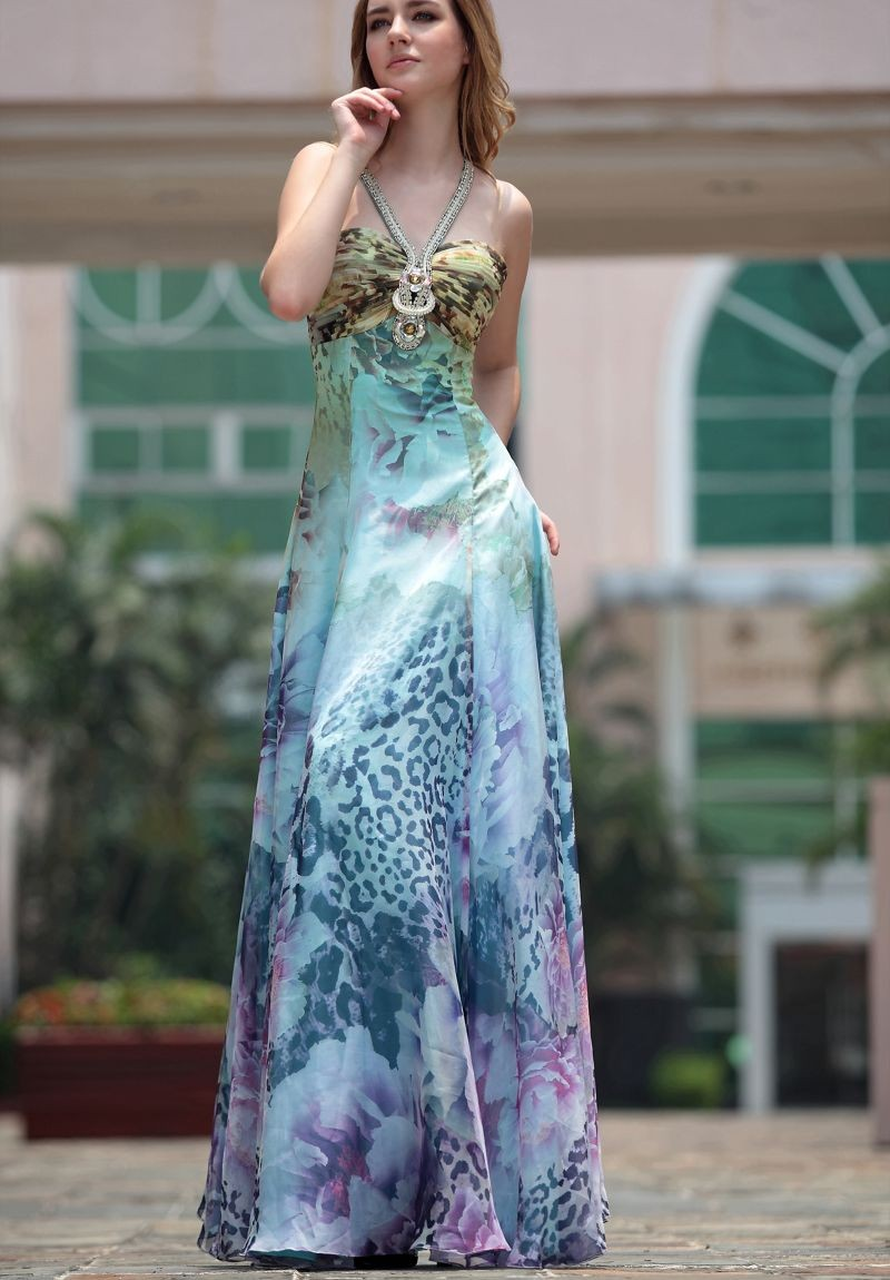 printed evening dress