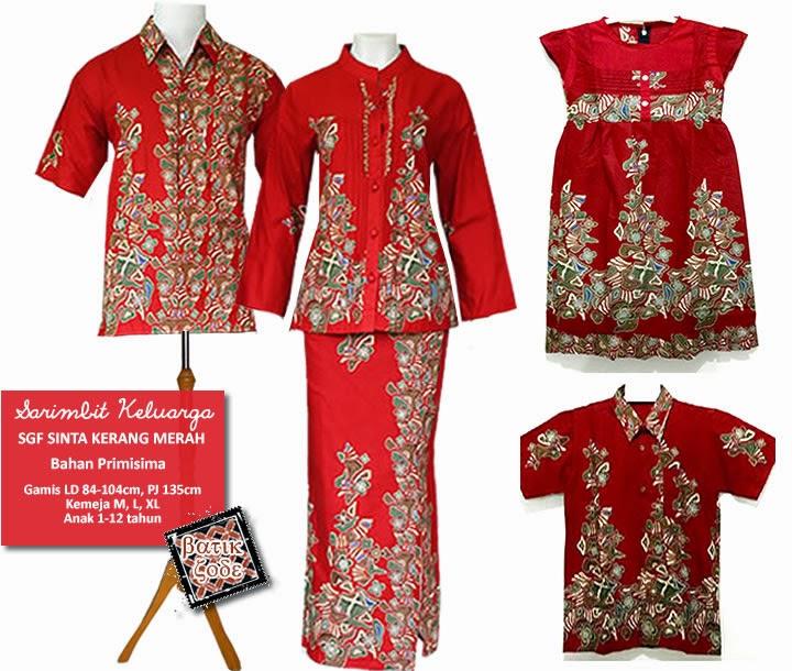 Baju Batik Gamis Merah Putih Sarimbit Couple