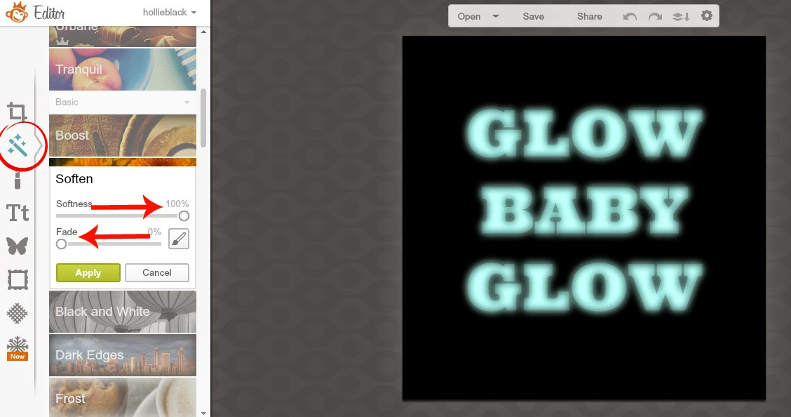 How to make text GLOW with PicMonkey {easy tutorial}