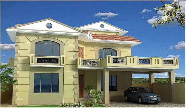 Pakistan 1 kanal, 10 Marla Plan, 3d Front elevation of House Beautiful