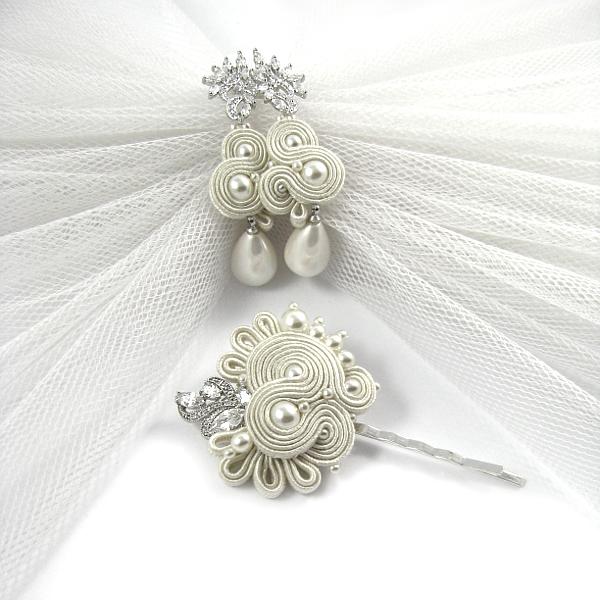 Kolczyki ślubne sutasz ivory z perłami i wsuwka