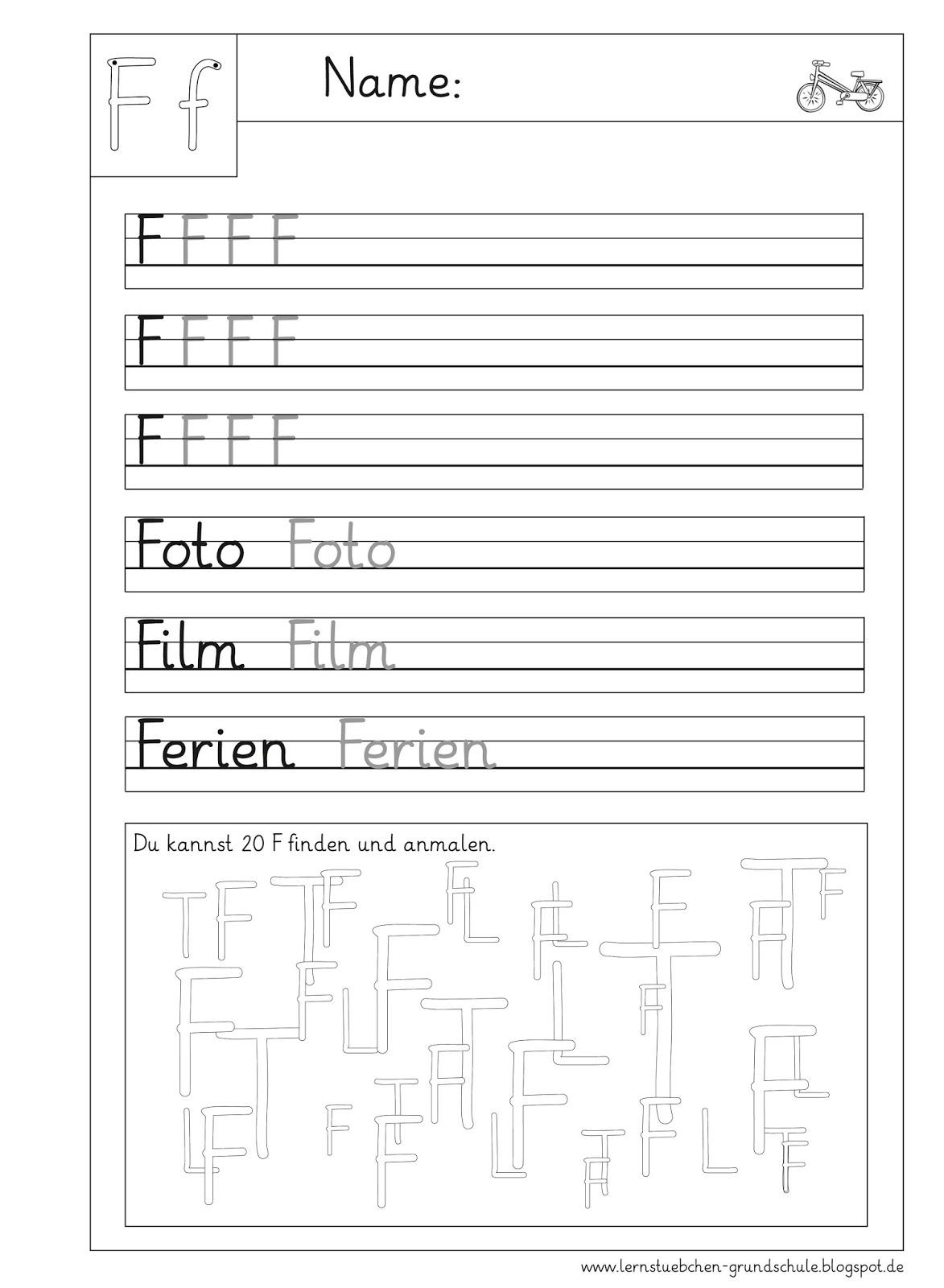 Arbeitsblatt Buchstabe F : Lernstübchen f arbeitsblätter zum schreiben und sehen