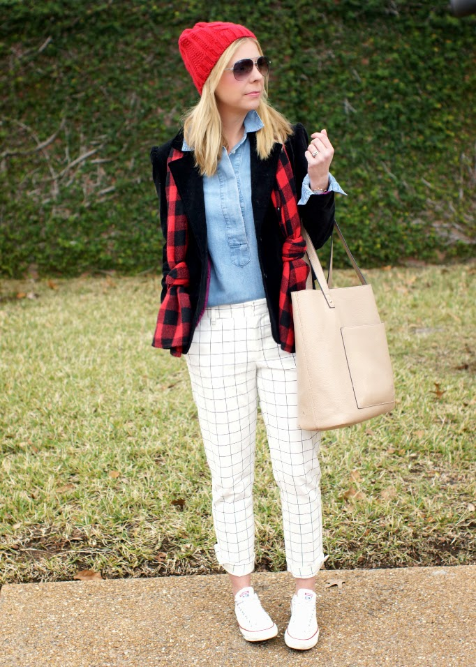 Chambray top, black velvet blazer, windowpane pants, buffalo plaid scarf