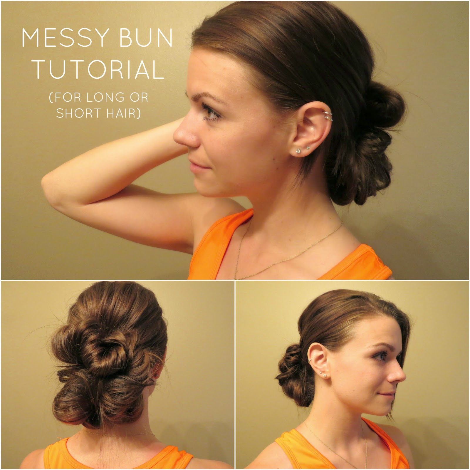 messy bun tutorial for long or short hair, hair tutorial, low bun tutorial