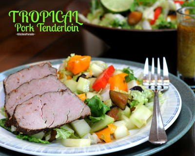 Tropical Pork Tenderloin with Tropical Salad Supper, lean pork tenderloin seasoned with spices and topped with a sweet-hot glaze. Another Quick Supper recipe from Kitchen Parade.