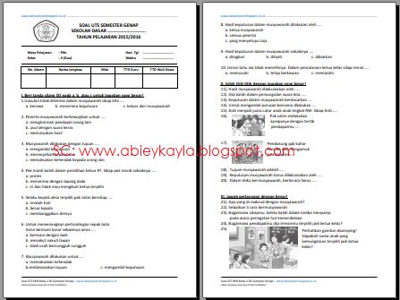 25 Soal UTS PKN Kelas 2 SD/MI Semester 2 TP.2015/2016 KTSP Terbaru