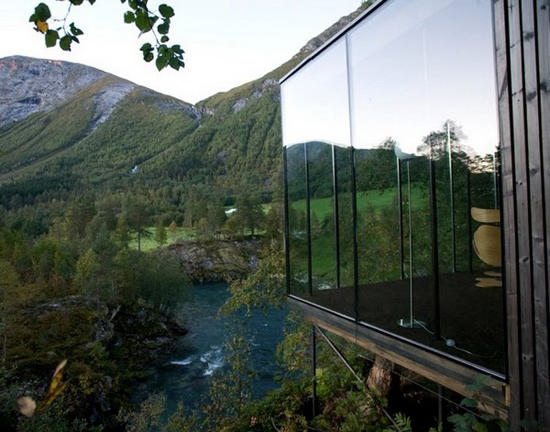 """Minimalist architecture and enchanting landscape, of the neighborhoods near  the magnificent fjords, waiting for you at """"Juvet Landscape Hotel"""", ... - JUVET LANDSCAPE HOTEL BY JENSEN & SKODVIN A As Architecture"""