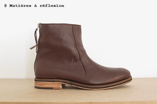 Boots homme cuir choco Craie