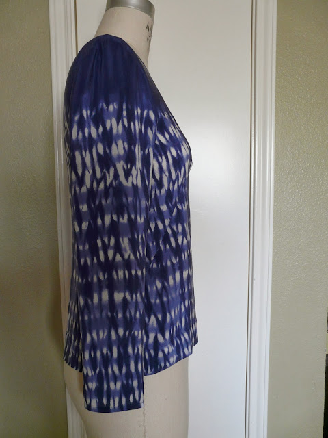 Silk crepe de chine long-sleeved blue tie-dye top made from Thakoon silk bought from Mood Fabrics.