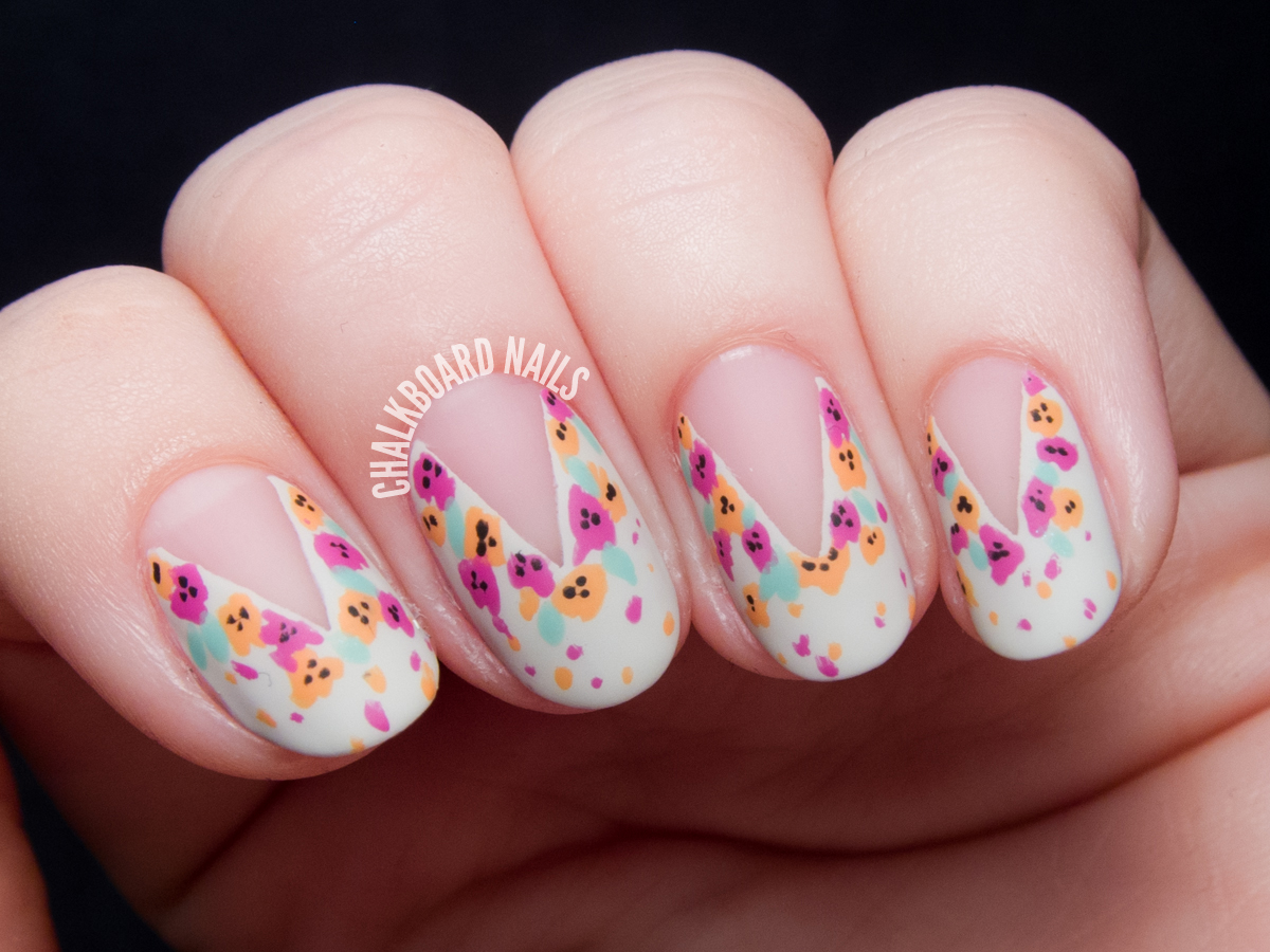 Tutorial easy splattered floral nail art inspired by naild it easy floral nail art tutorial by chalkboardnails prinsesfo Images