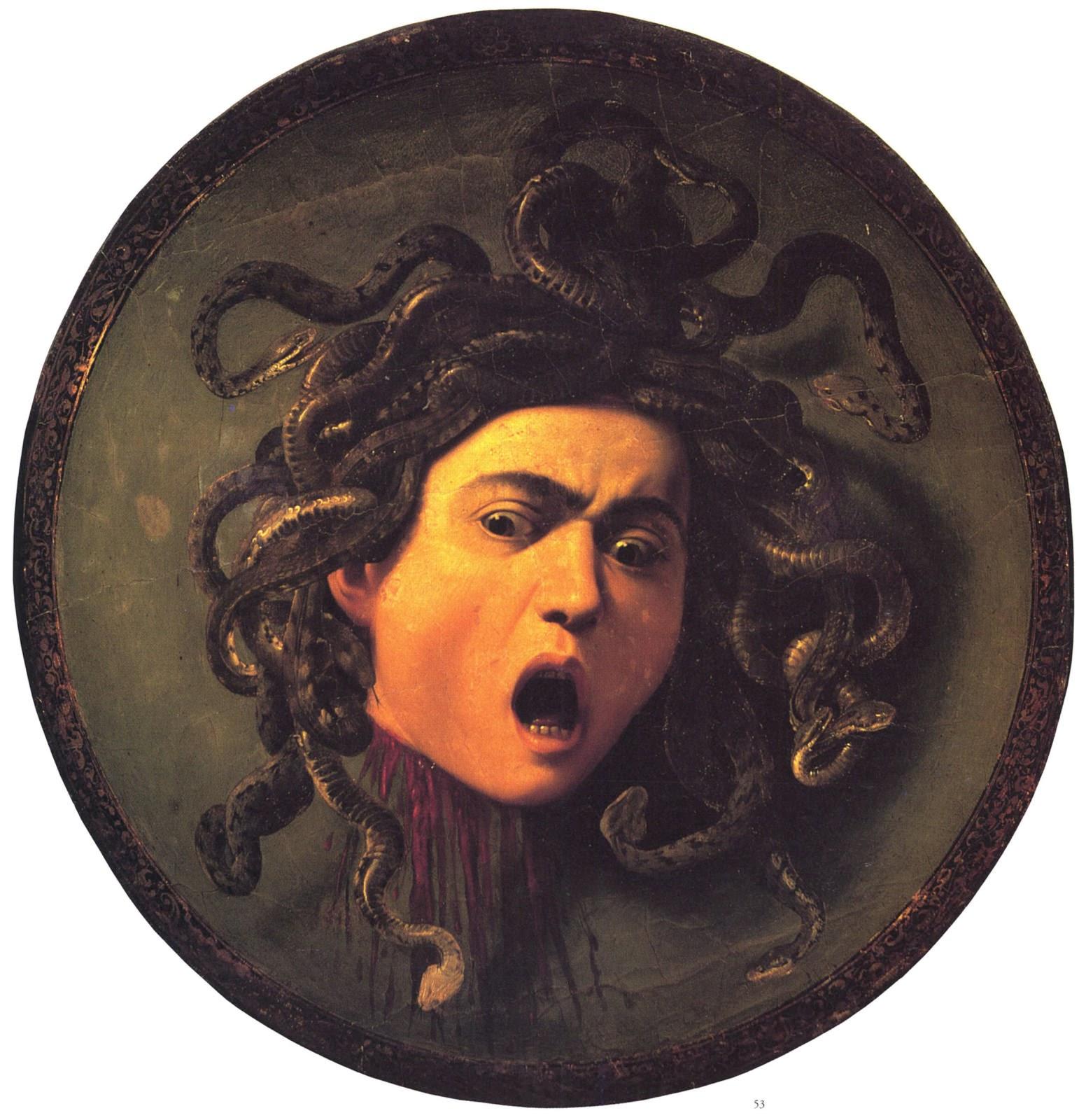 Cái đầu của con quái vật Medusa với bộ tóc rắn. Hình vẽ bởi họa sĩ người Ý Caravaggio.