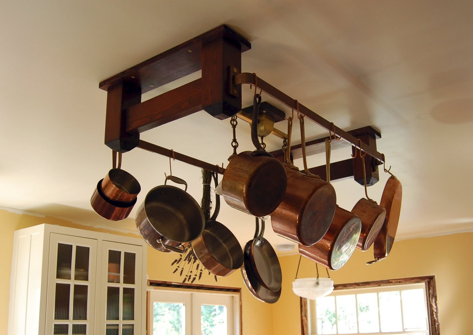 The Making Of A Craftsman Home Kitchen Pot Rack - Kitchen pot rack light fixtures