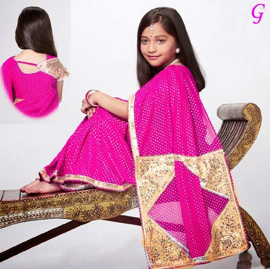 Babies Saree-Pink color latest model kids saree collections
