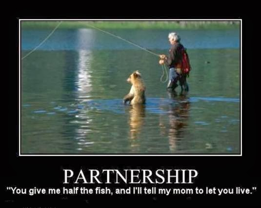 funny meme about partnership, showing a bear fishing with a person