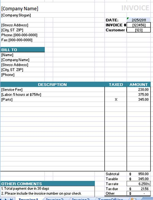 ms office invoice