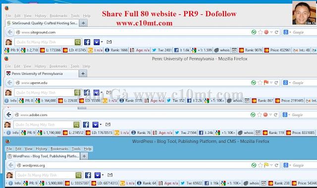 Tâm Gà Share Full 80 website Pagerank 9 Dofollow Free
