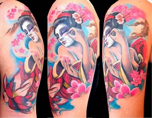 Tatuagem Gueixa no braço