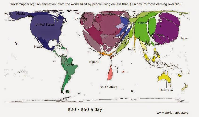 世界地図 1日 生活費 収入 所得 マップ